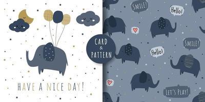 Tarjeta de dibujos animados de felicitación de elefante lindo y patrones sin fisuras vector