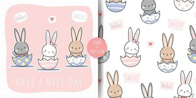 Cute rabbit bunny sitting in easter egg shell cartoon doodle card and seamless pattern vector