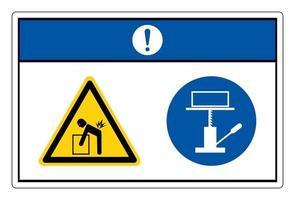 Notice Lift Hazard Use Mechanical Lift Symbol Sign On White Background vector