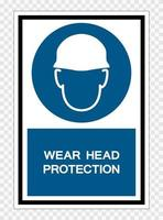 Wear Head Protection Symbol Sign Isolate on transparent Background,Vector Illustration vector