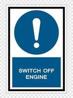 símbolo apagar el motor aislar sobre fondo transparente, ilustración vectorial vector