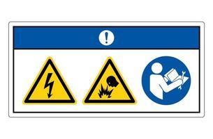 Aviso símbolo de peligro de descarga eléctrica firmar sobre fondo blanco. vector
