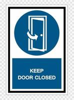 Mantenga la puerta cerrada símbolo signo aislado sobre fondo transparente, ilustración vectorial vector