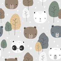 Cute teddy bear polar bear and panda cartoon seamless pattern vector