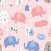 lindo, elefante, caricatura, seamless, patrón vector