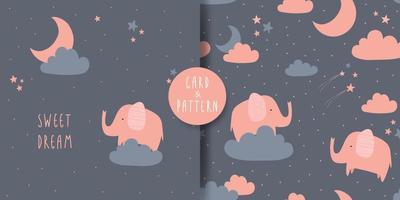 lindo elefante tarjeta de dibujos animados dulce sueño y paquete de patrones sin fisuras vector