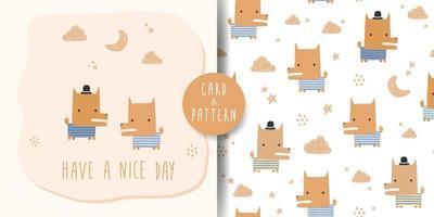 Cute fox cartoon card and seamless pattern bundle vector