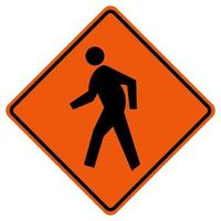 Pedestrian Crossing Traffic Road Symbol Sign Isolate on White Background,Vector Illustration vector