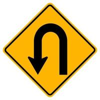 Warning traffic signs Hairpin curve to left on white background vector