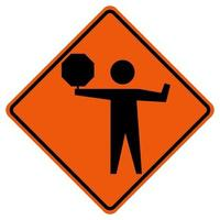 Flaggers In Road Ahead Warning Traffic Symbol Sign Isolate on White Background,Vector Illustration vector
