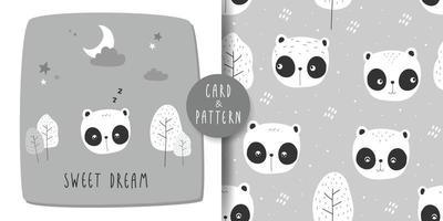 Cute panda cartoon card and seamless pattern bundle vector
