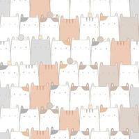 Cute cat kitten cartoon doodle pastel seamless pattern vector
