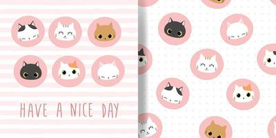 Cute cat kitten cartoon card and seamless pattern bundle vector