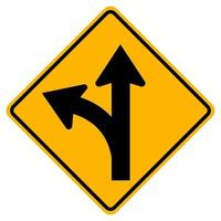 Proceed Straight or Turn left Road Sign vector