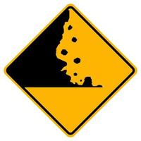 Warning signs Falling rocks on white background