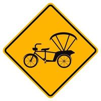 Warning Bicycle Or Tricycle Traffic Road Yellow Symbol Sign Isolate on White Background,Vector Illustration EPS.10 vector