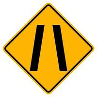 Narrowing Traffic Road Symbol Sign Isolate on White Background,Vector Illustration EPS.10 vector