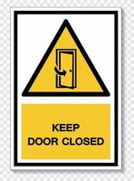 Keep Door Closed Symbol Sign Isolate On White Background,Vector Illustration EPS.10 vector