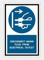 Disconnect Mains Plug From Electrical Outlet Symbol Sign Isolate on transparent Background,Vector Illustration vector