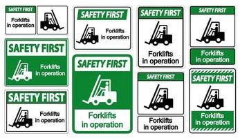 Safety First forklifts in operation Symbol Sign Isolate on transparent Background,Vector Illustration vector