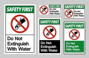 Safety First Do Not Extinguish With Water Symbol Sign On White Background vector