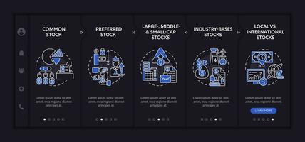 Investment assets types onboarding vector template