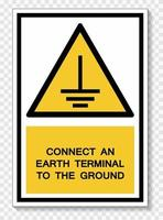 Connect An Earth Terminal To The Ground Symbol Sign Isolate On White Background,Vector Illustration EPS.10 vector