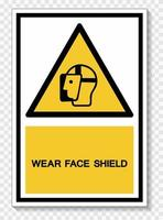 Wear Face Shield Symbol Sign Isolate On White Background,Vector Illustration EPS.10 vector