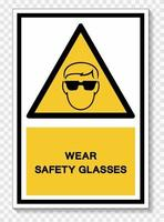 Wear Safety Glassed Isolate On White Background,Vector Illustration EPS.10 vector