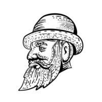 caballero inconformista con sombrero de bombín vector