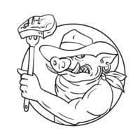 Ilustración de estilo de boceto de dibujo de un cerdo salvaje vaquero sosteniendo un tenedor con filete de barbacoa vector