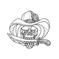 Cowboy Pirate Skull Biting Dagger Mosaic vector