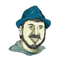 Hipster Wearing Hat Smiling Drawing vector