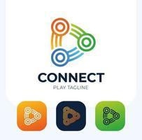 Connect play button vector logo set