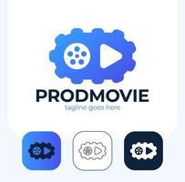icono de reproducción con conjunto de logotipos de engranajes de video