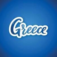 Grecia - nombre del país de letras dibujadas a mano. pegatina con letras en estilo de corte de papel. vector