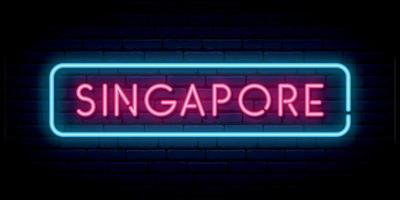 Singapore neon sign. Bright light signboard. vector