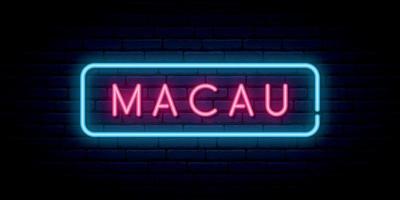Macau neon sign. Bright light signboard. vector