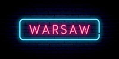 Warsaw neon sign. Bright light signboard. vector