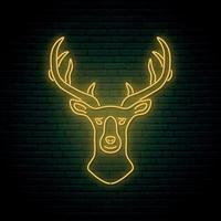 signo de cabeza de ciervo de neón. letrero de neón brillante de la noche. vector