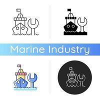 Ship maintenance and repair icon vector