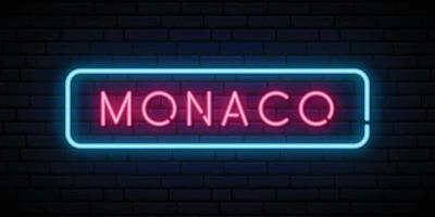 Monaco neon sign. Bright light signboard. vector