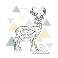 Abstract scandinavian geometric deer. Polygonal reindeer. vector