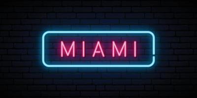 Miami neon sign. Bright light signboard. Vector banner.