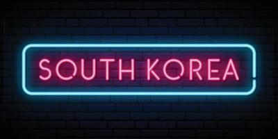 South Korea neon sign. Bright light signboard. vector