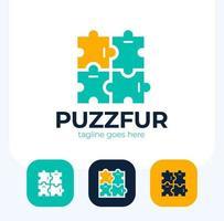Puzzle Pieces furniture Logo Design set vector