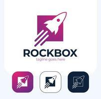 Conjunto de plantillas vectoriales de diseño de logotipo de caja de lanzamiento de cohetes vector
