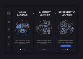 Learning styles onboarding vector template