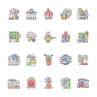 Air pollution RGB color icons set vector