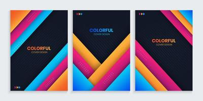 Abstract Cover Collection With Colorful Shapes vector